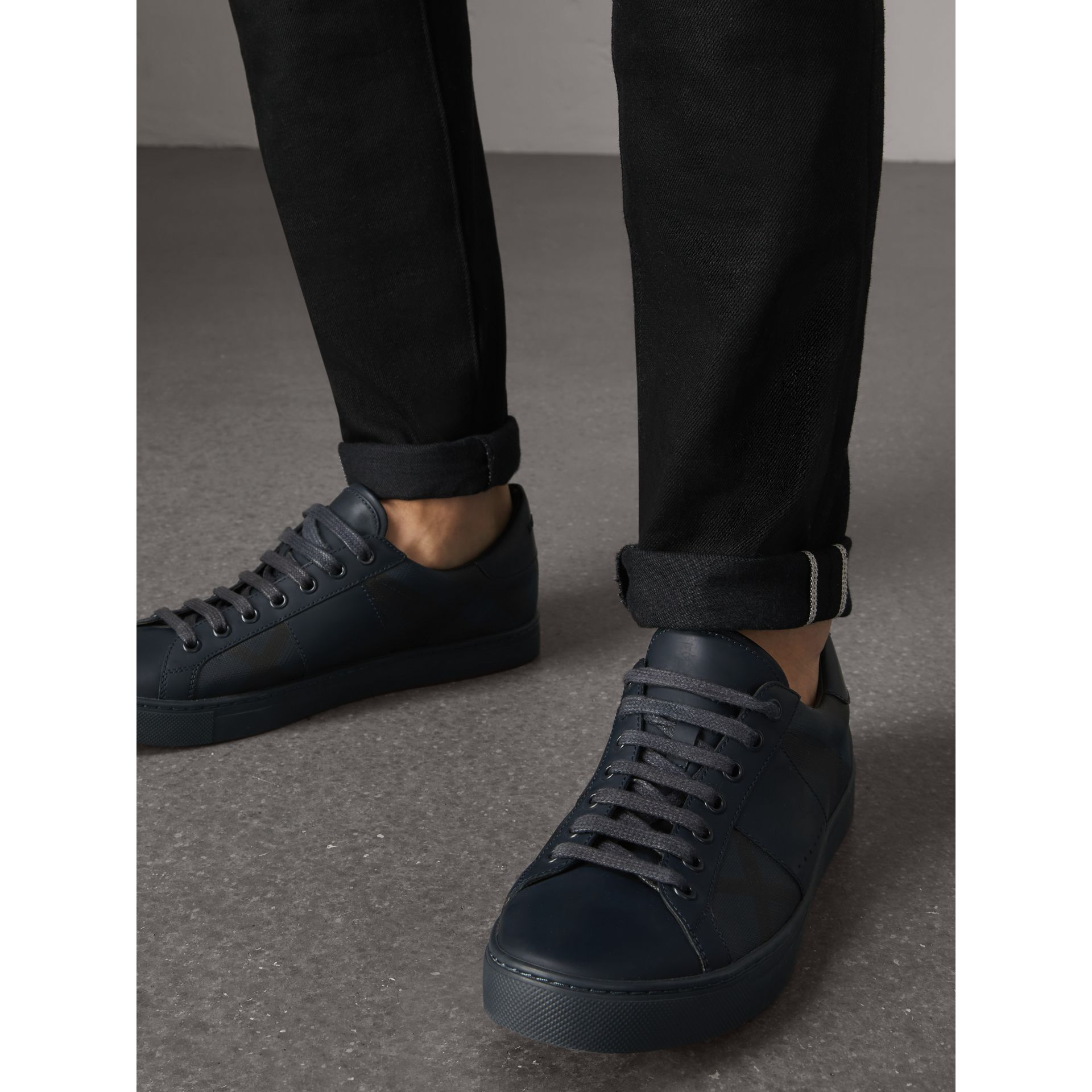 Check Detail Leather Trainers in Navy - Men | Burberry - gallery image 3