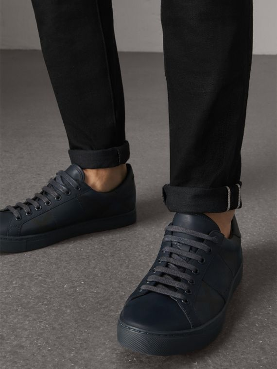 Check Detail Leather Trainers in Navy - Men | Burberry - cell image 2