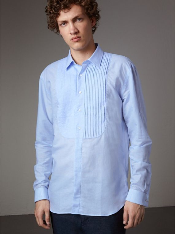 Modern Fit Linen Cotton Dress Shirt in Pale Blue - Men | Burberry Singapore