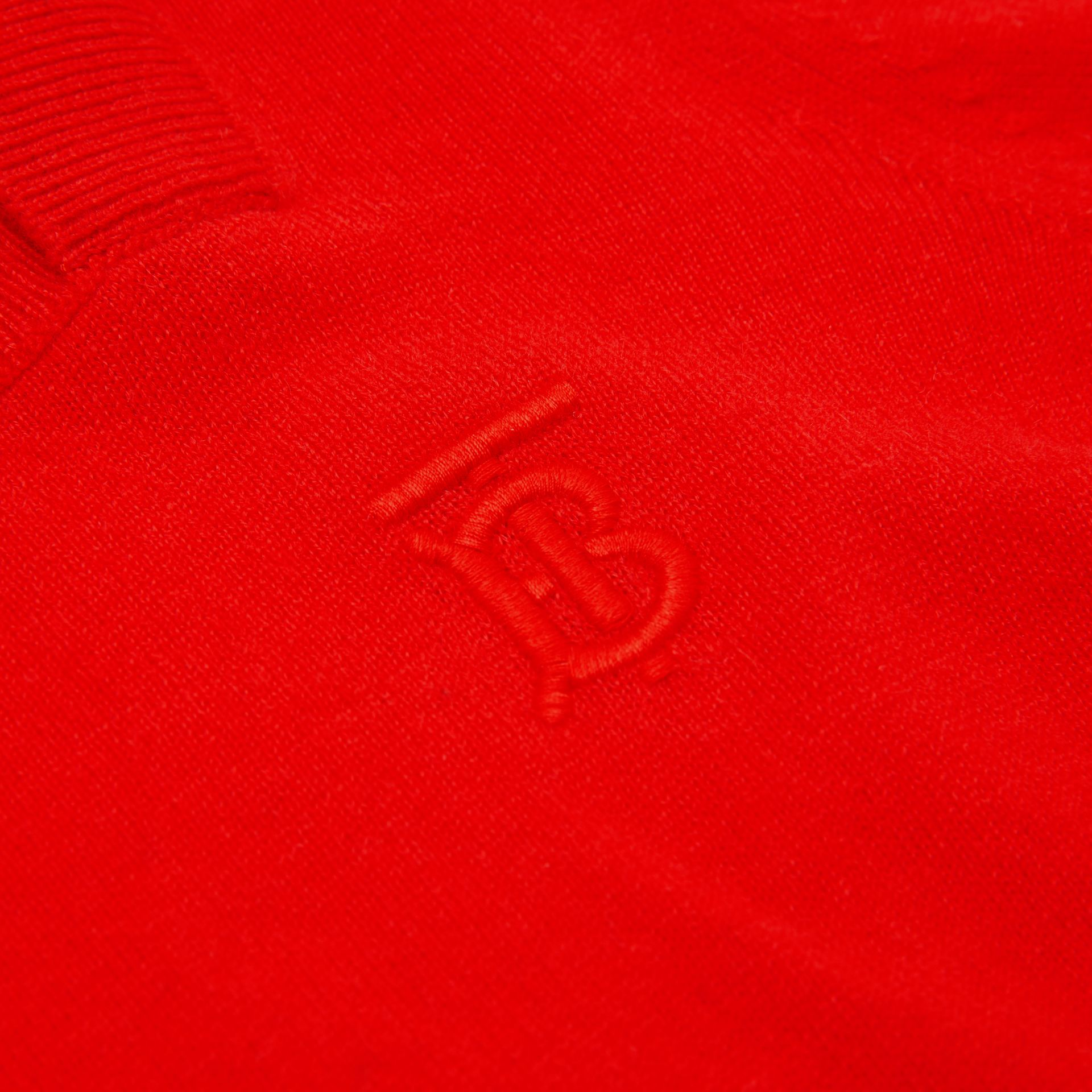 Monogram Motif Cashmere Sweater in Bright Red | Burberry - gallery image 1