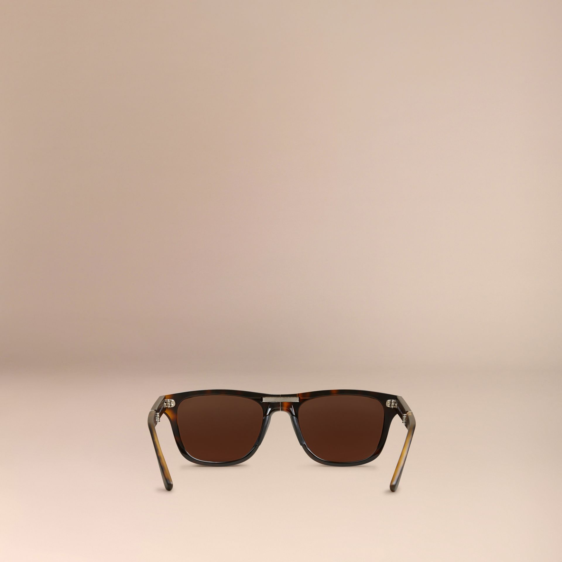 Folding Rectangular Frame Sunglasses in Dark Brown - Men | Burberry Canada - gallery image 3