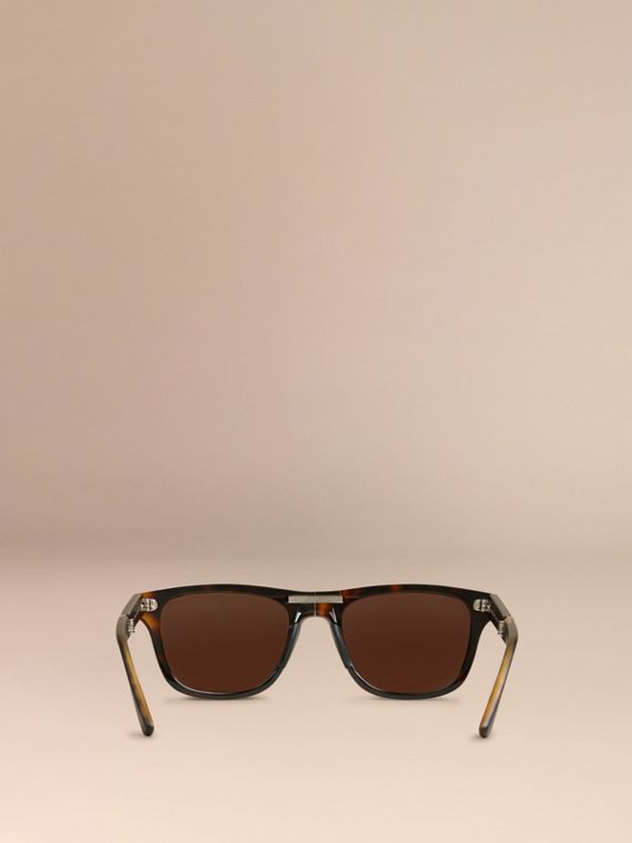 Folding Rectangular Frame Sunglasses in Dark Brown - Men | Burberry United Kingdom - cell image 3