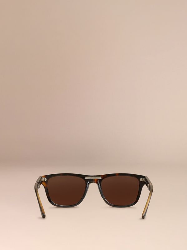 Folding Rectangular Frame Sunglasses in Dark Brown - Men | Burberry - cell image 3