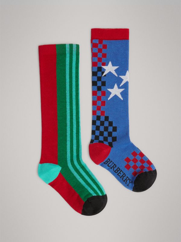 Graphic Intarsia Cotton Blend Socks in Multicolour | Burberry - cell image 2