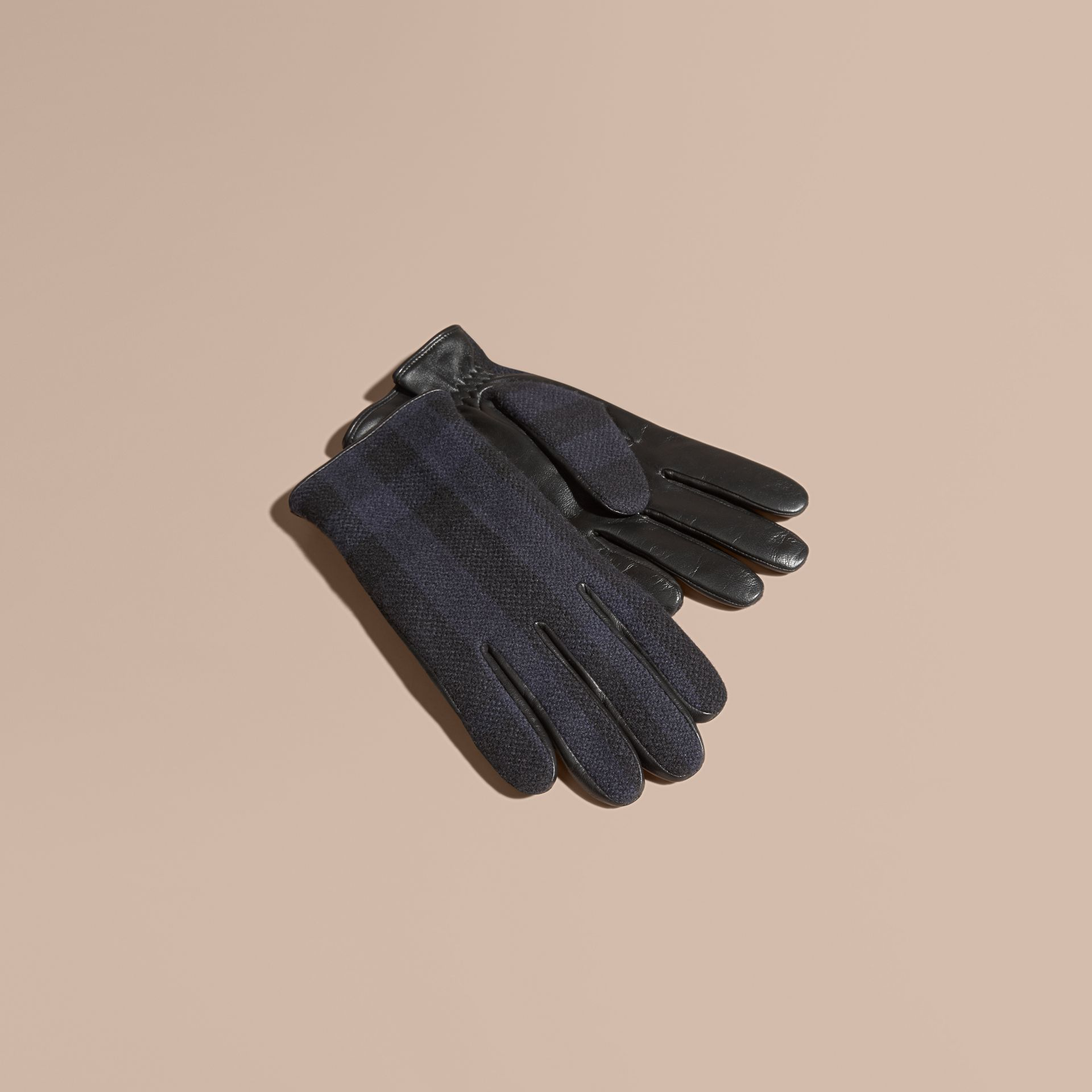 Check Wool and Leather Touch Screen Gloves in Navy - Men | Burberry Canada - gallery image 1