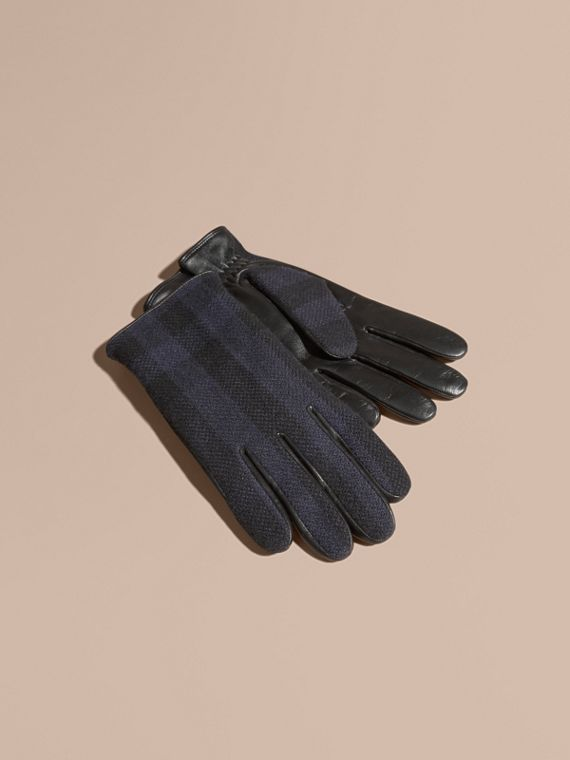 Check Wool and Leather Touch Screen Gloves in Navy