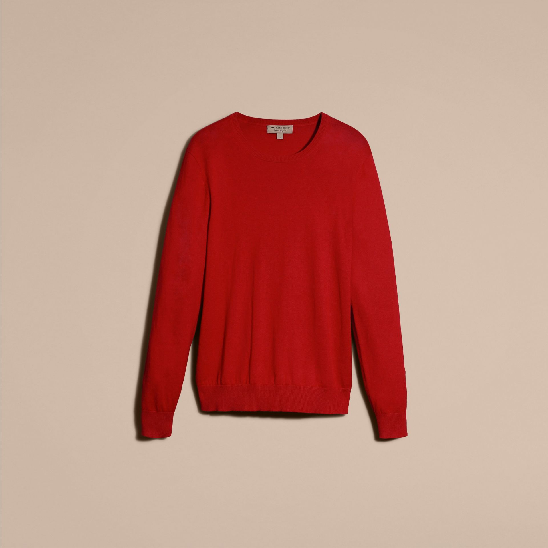 Check Trim Cashmere Cotton Sweater in Military Red - gallery image 4