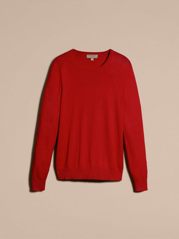 Check Trim Cashmere Cotton Sweater in Military Red - cell image 3