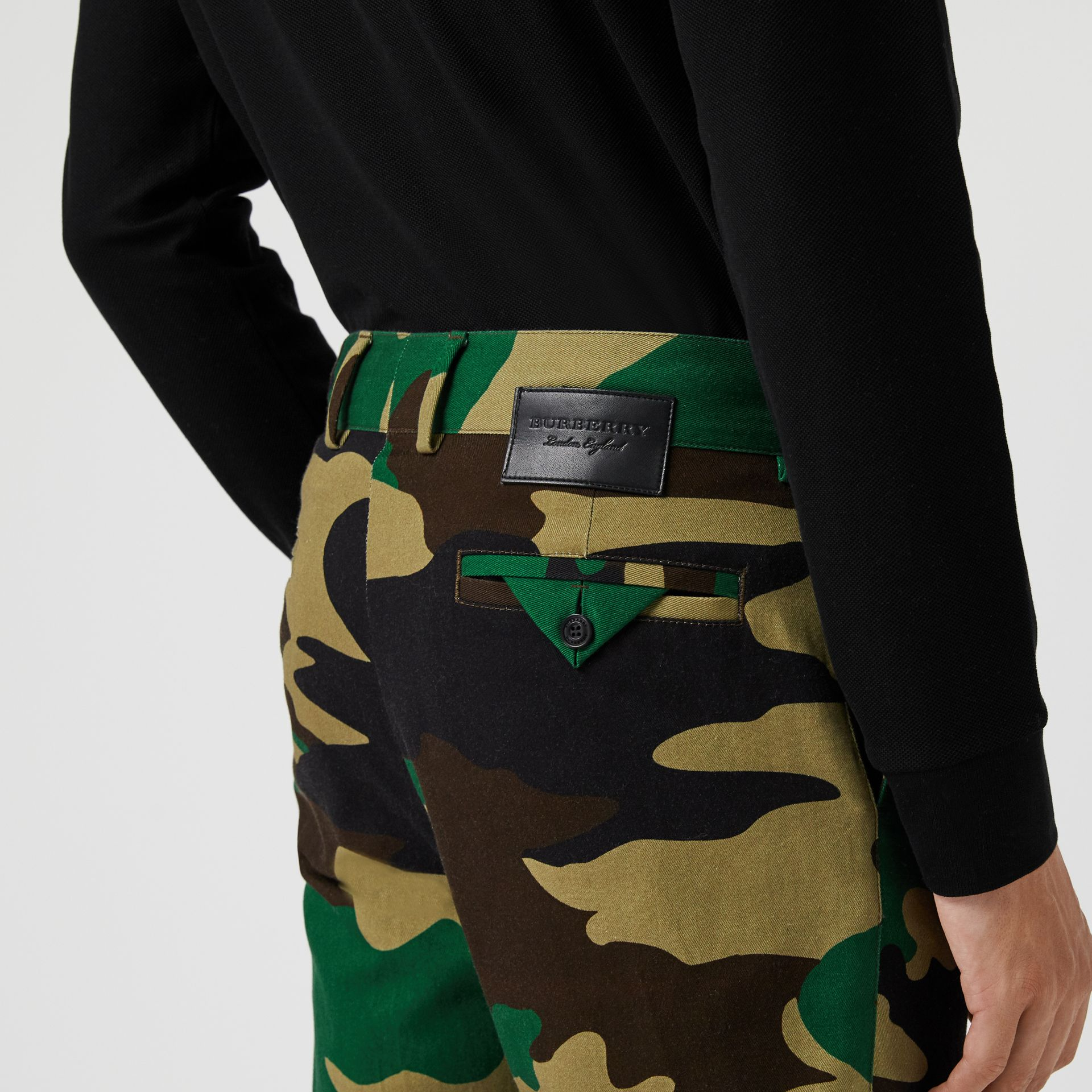 Slim Fit Camouflage Print Cotton Chinos in Forest Green - Men | Burberry - gallery image 1