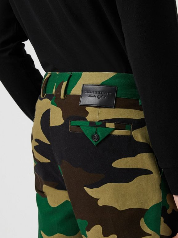 Slim Fit Camouflage Print Cotton Chinos in Forest Green - Men | Burberry - cell image 1