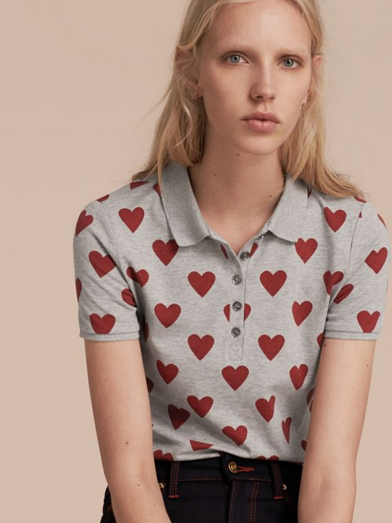 Heart Print Stretch Cotton Piqué Polo Shirt Parade Red