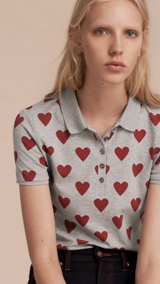 Heart Print Stretch Cotton Piqué Polo Shirt