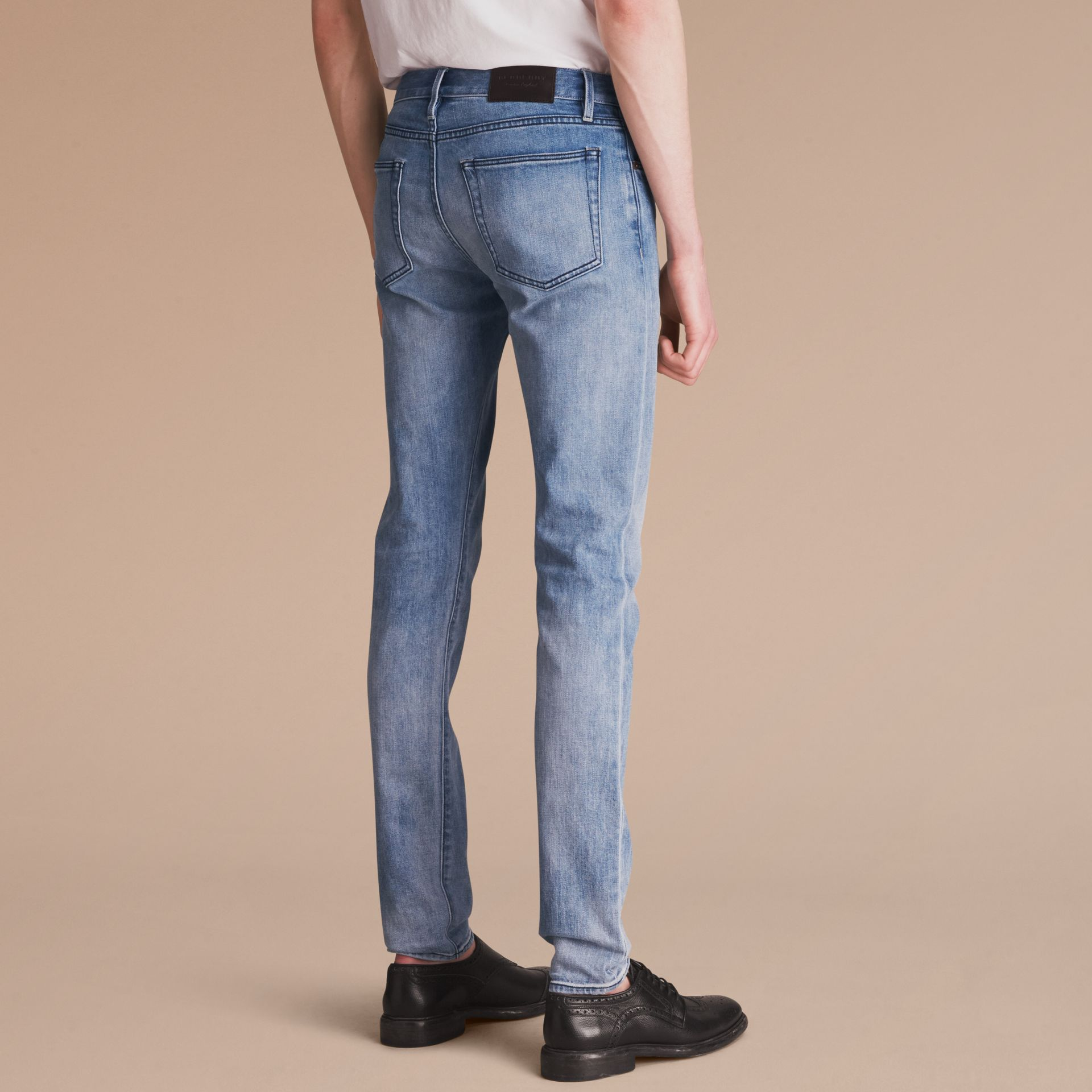 Skinny Fit Brushed Stretch Denim Jeans in Light Indigo Blue - Men | Burberry United Kingdom - gallery image 2