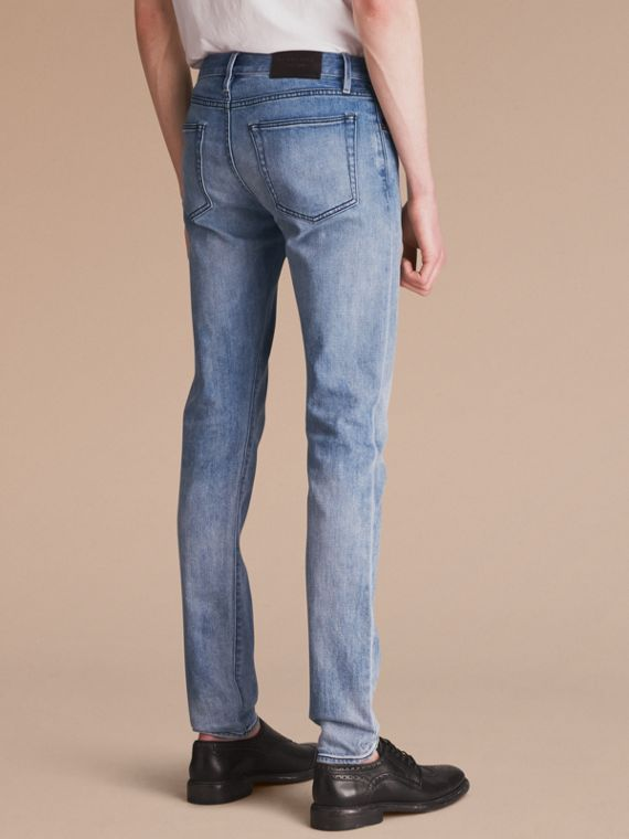 Skinny Fit Brushed Stretch Denim Jeans in Light Indigo Blue - Men | Burberry - cell image 2