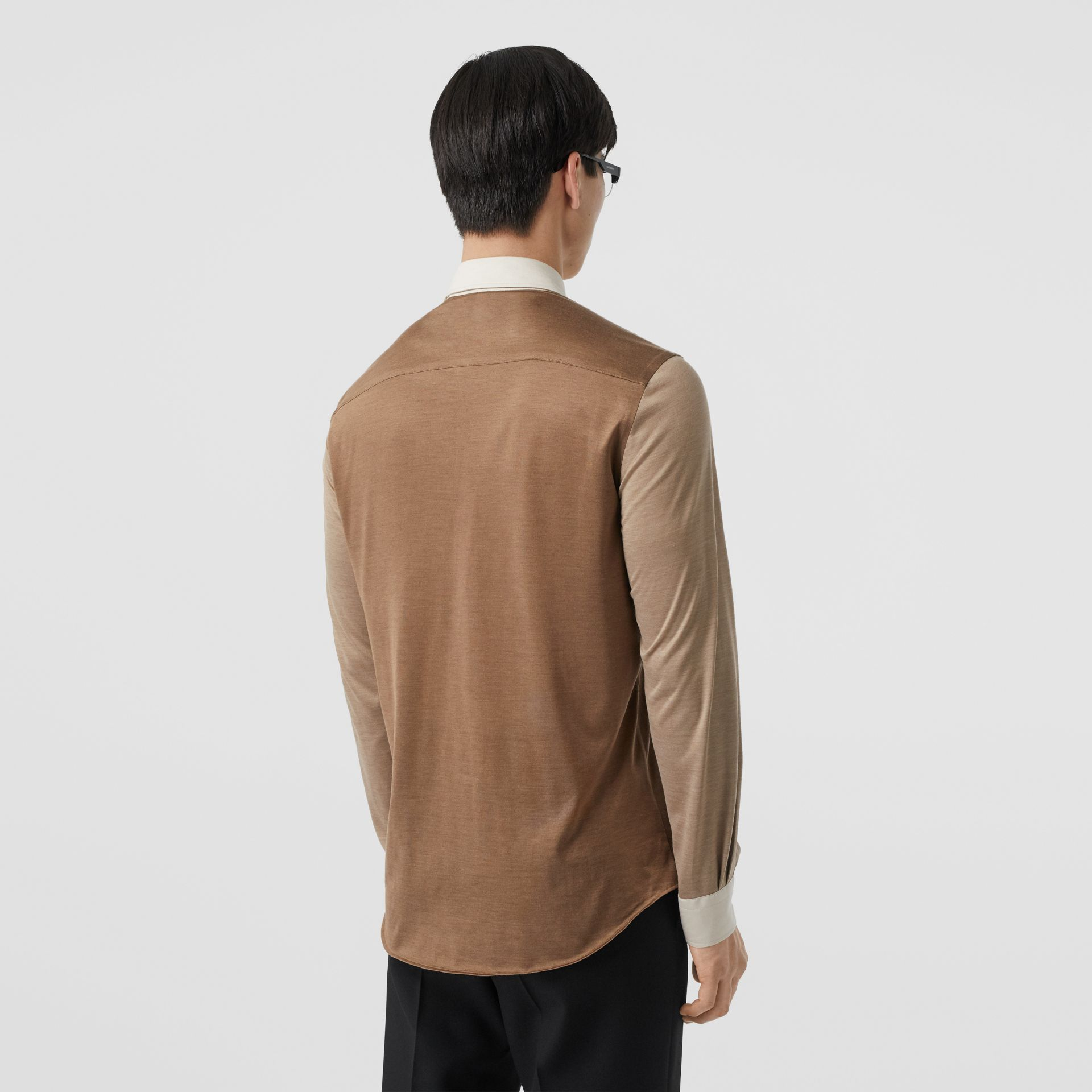 Classic Fit Panelled Silk and Merino Wool Shirt in Warm Camel - Men | Burberry United Kingdom - gallery image 2