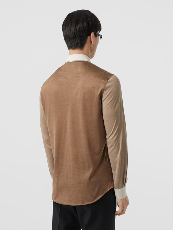 Classic Fit Panelled Silk and Merino Wool Shirt in Warm Camel - Men | Burberry - cell image 2