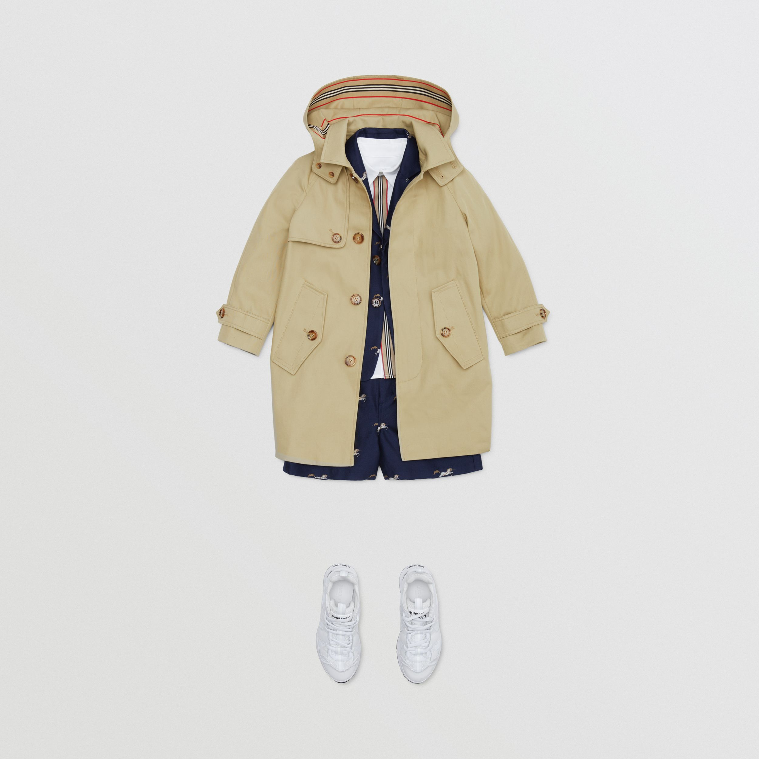 Detachable Hood Icon Stripe Trim Cotton Car Coat in Honey | Burberry - 3