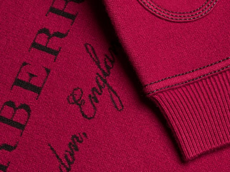 Topstitch Detail Wool Cashmere Blend Sweatshirt Burgundy - cell image 1