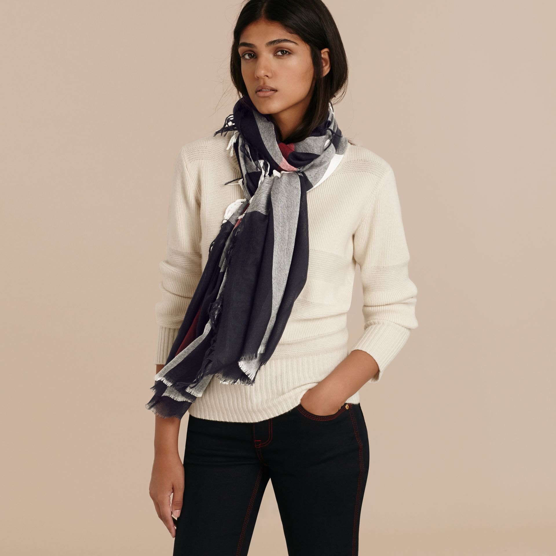 The Lightweight Cashmere Scarf in Check Navy - gallery image 3