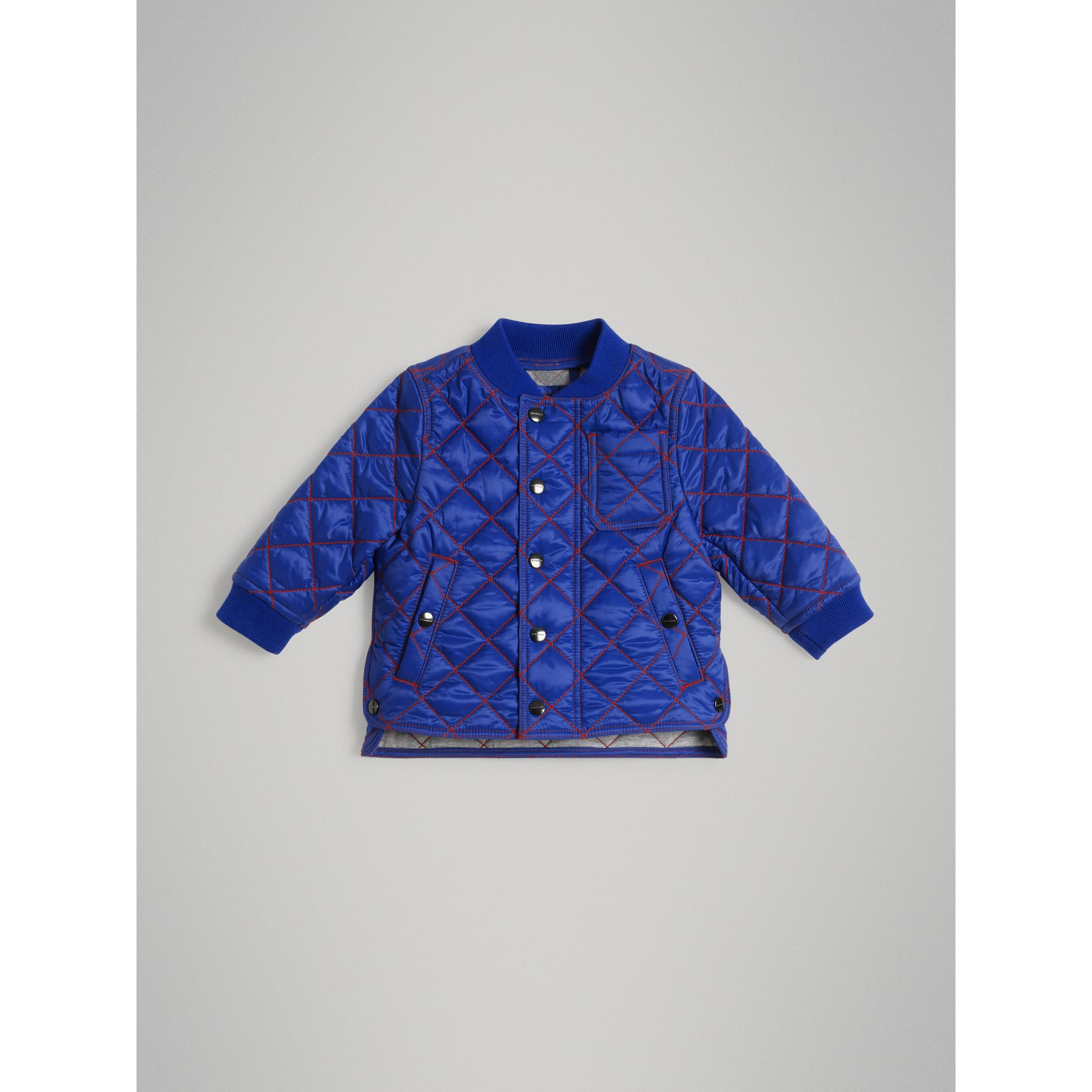 Topstitched Quilted Jacket in Brilliant Blue - Children | Burberry Australia - gallery image 0