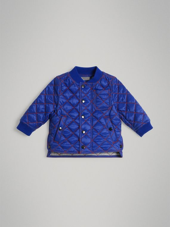 Topstitched Quilted Jacket in Brilliant Blue