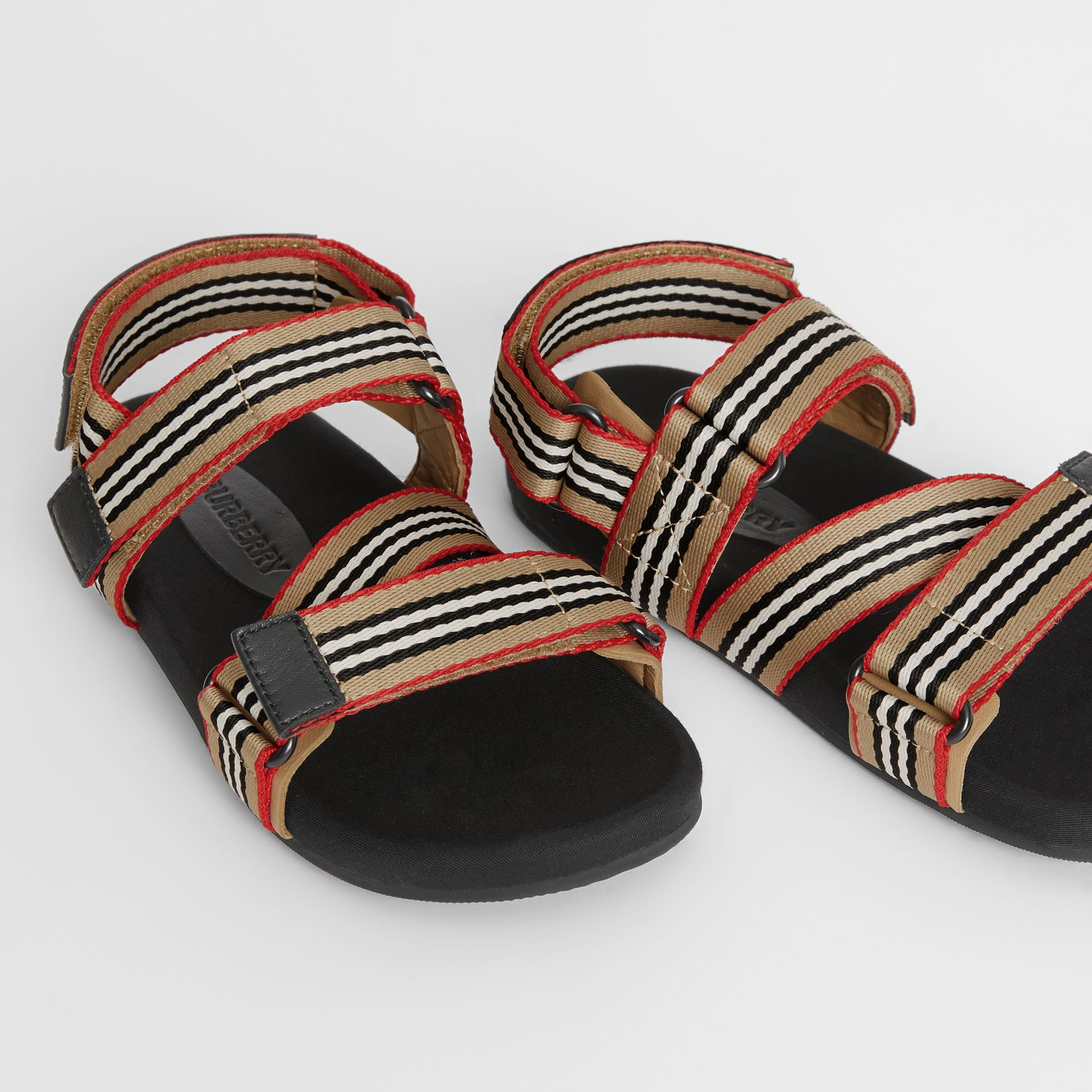 Ripstop Strap Icon Stripe Cotton Sandals in Archive Beige/black - Children | Burberry - gallery image 1