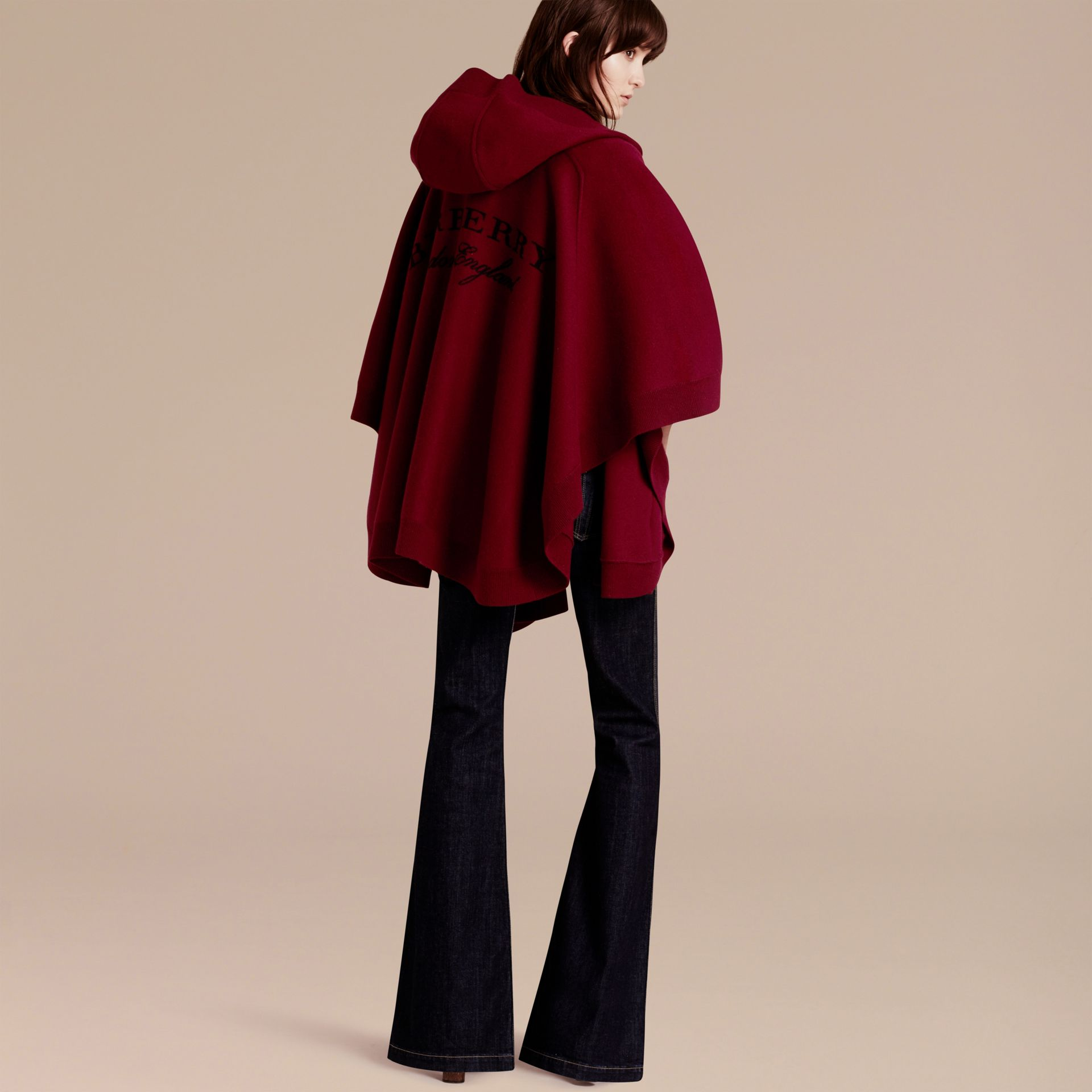 Deep red Wool Cashmere Blend Hooded Poncho Deep Red - gallery image 1