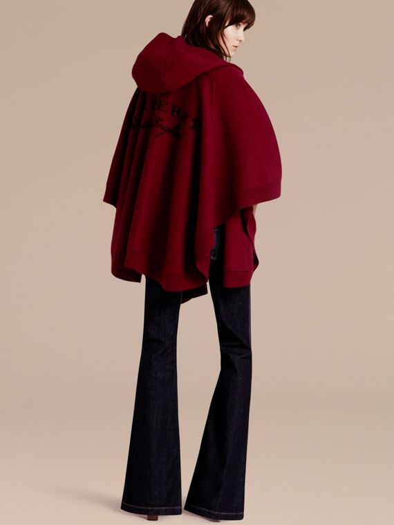 Wool Cashmere Blend Hooded Poncho Deep Red