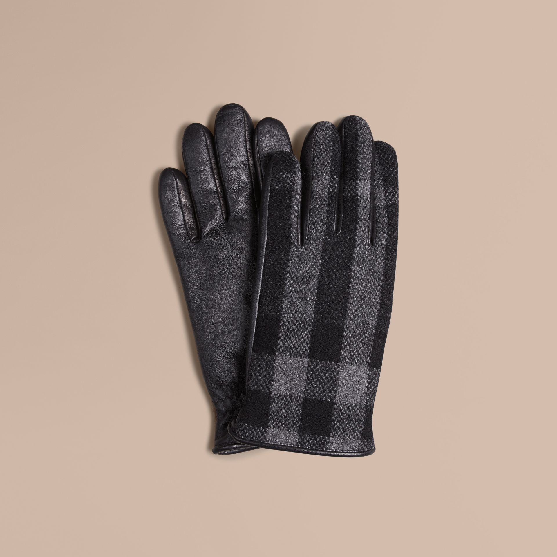 Check Wool and Leather Touch Screen Gloves in Charcoal - Men | Burberry Canada - gallery image 1