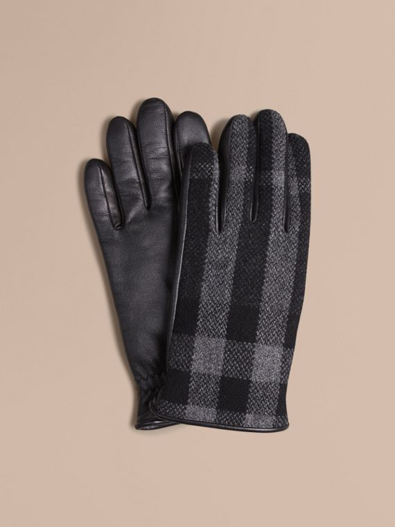 Check Wool and Leather Touch Screen Gloves in Charcoal