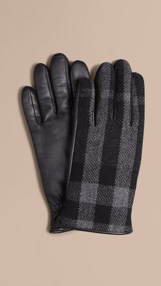 Check Wool and Leather Touch Screen Gloves