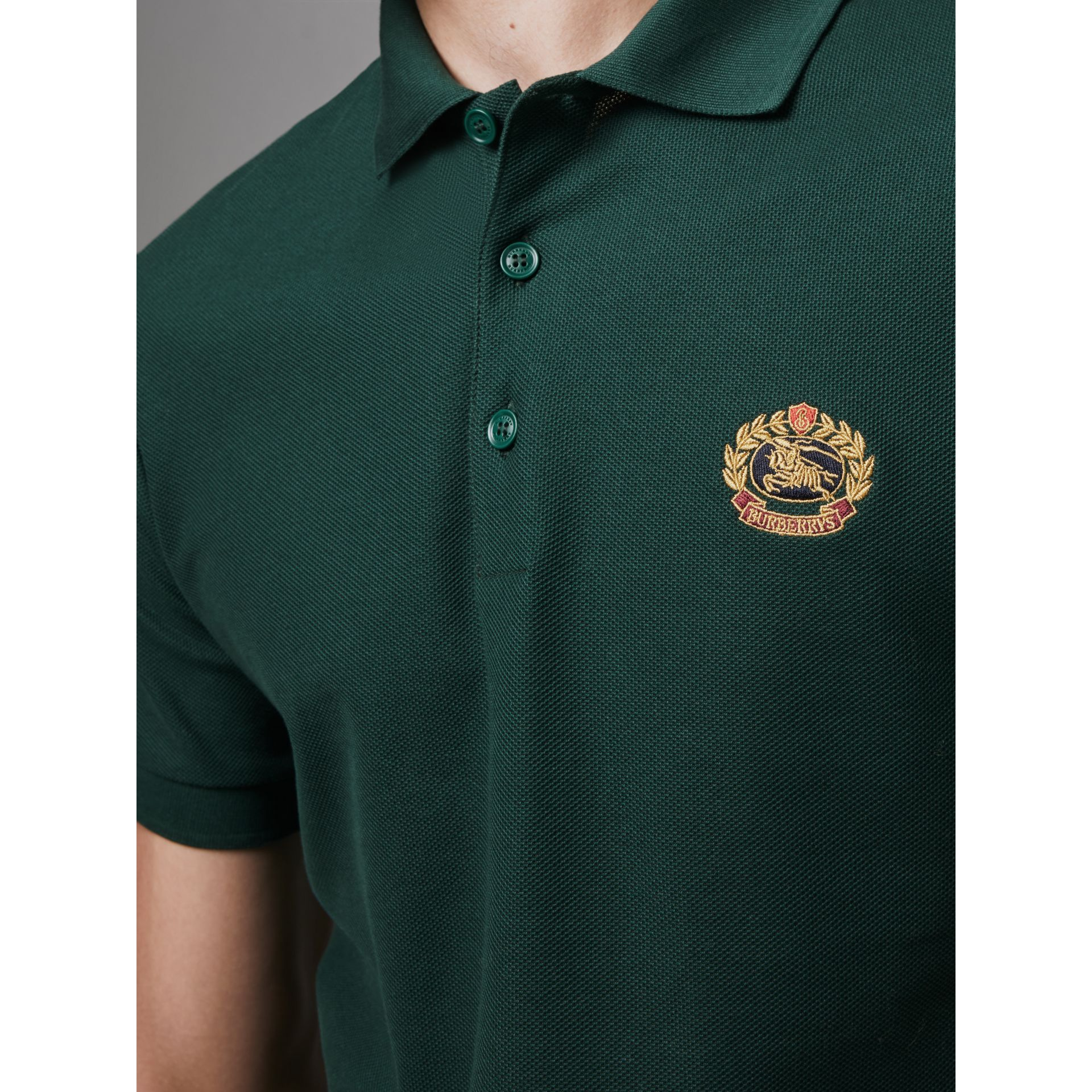 Archive Logo Cotton Piqué Polo Shirt in Dark Forest Green - Men | Burberry Singapore - gallery image 1