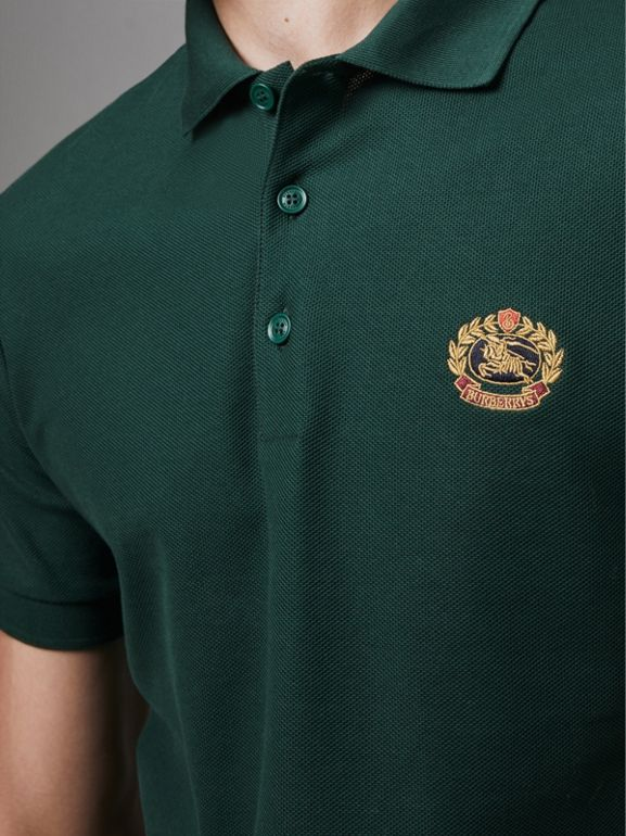 Archive Logo Cotton Piqué Polo Shirt in Dark Forest Green - Men | Burberry Singapore - cell image 1