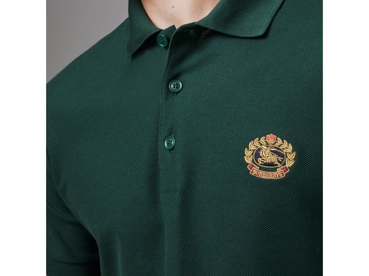 Archive Logo Cotton Piqué Polo Shirt in Dark Forest Green - Men | Burberry - cell image 1