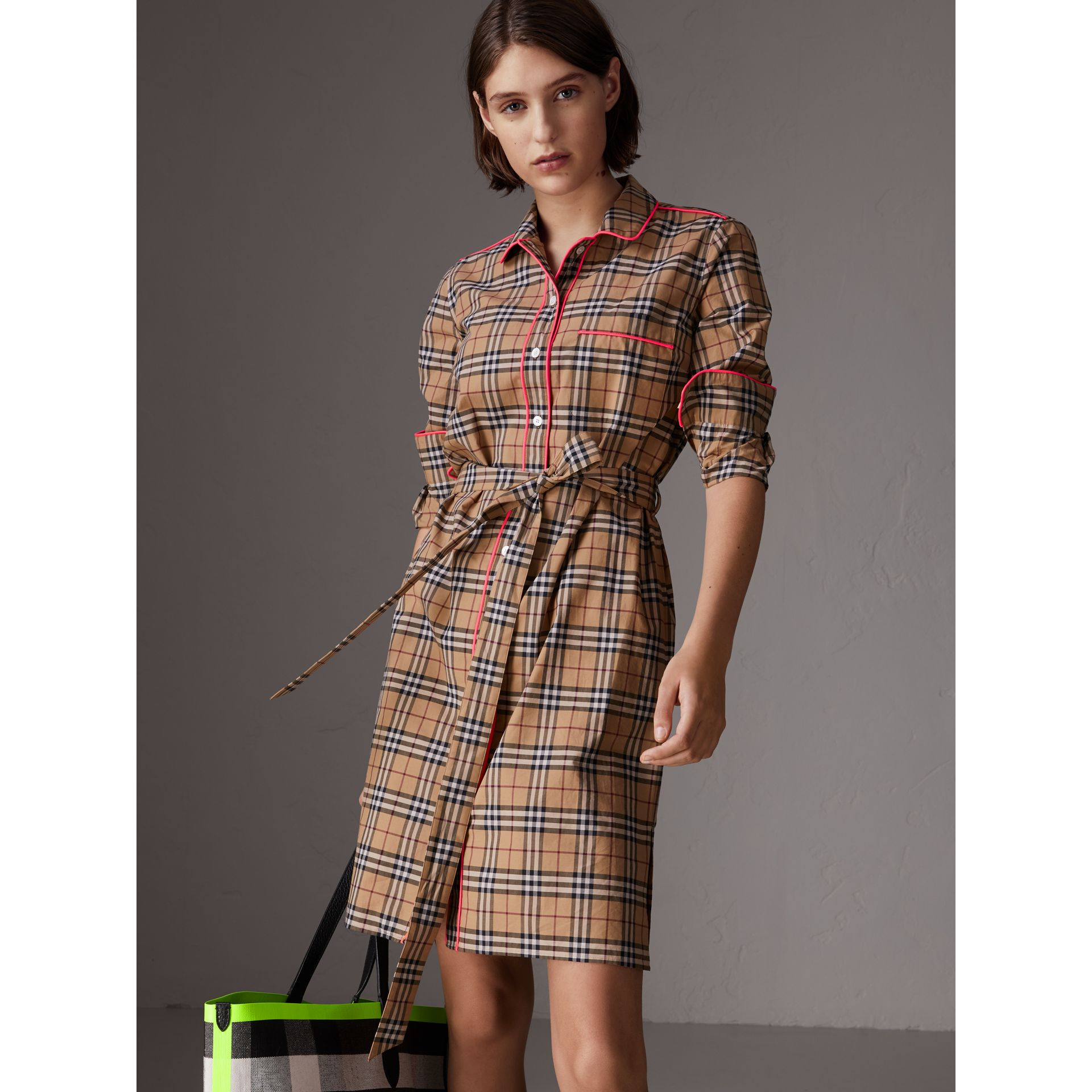 Contrast Piping Check Cotton Shirt Dress in Camel - Women | Burberry - gallery image 4