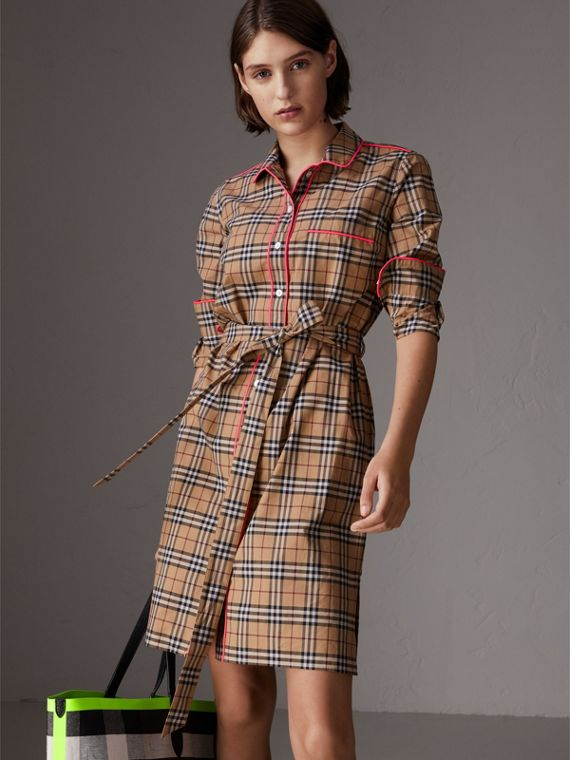 Contrast Piping Check Cotton Shirt Dress in Camel