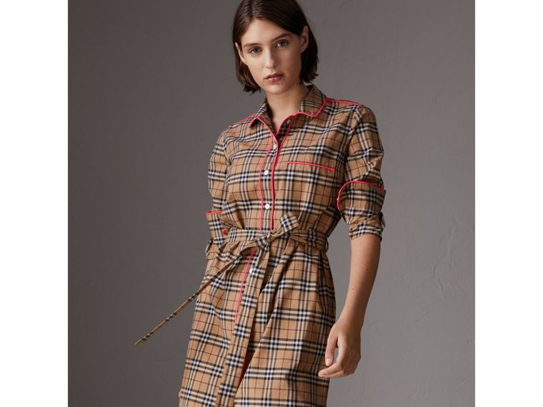 Contrast Piping Check Cotton Shirt Dress in Camel - Women | Burberry - cell image 4