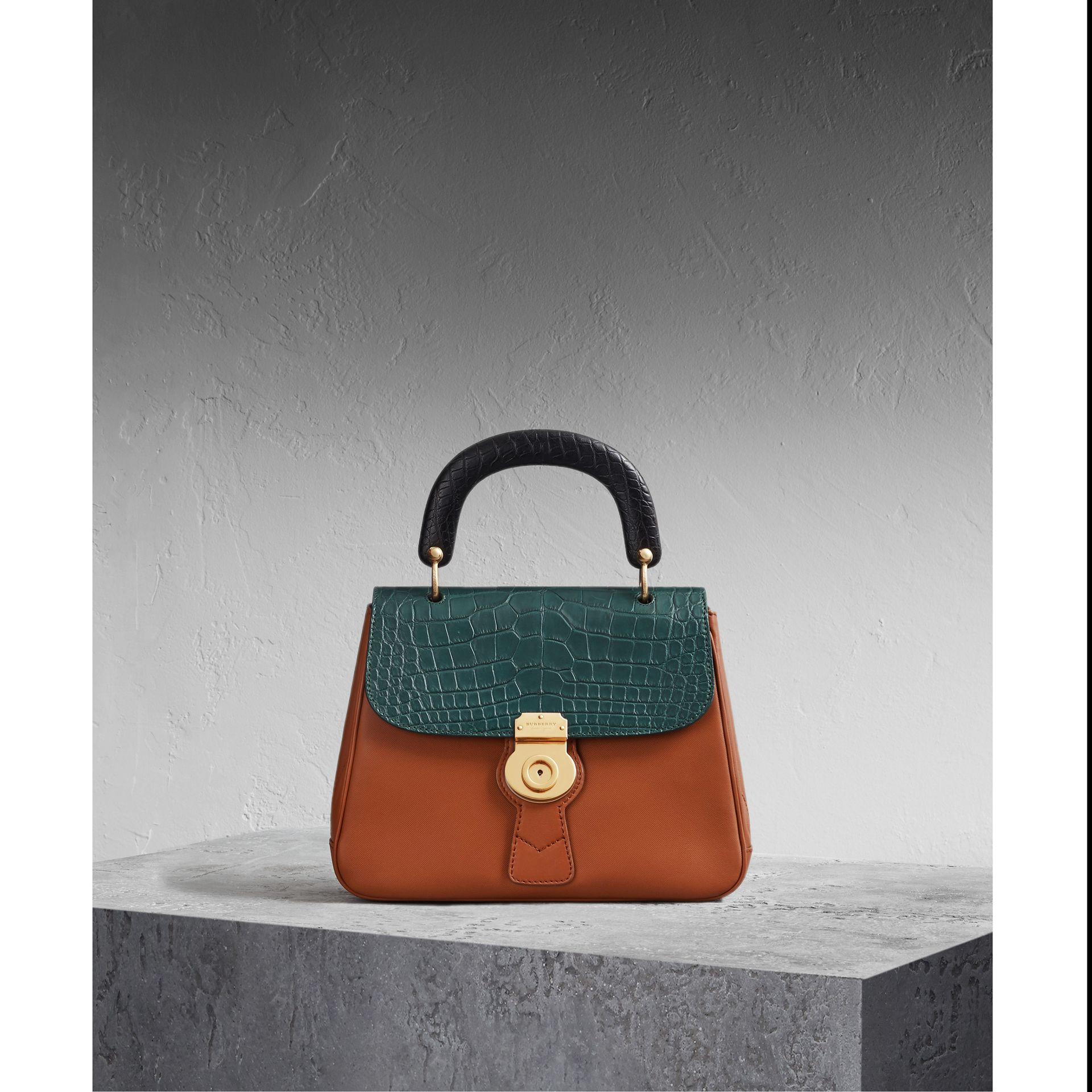 The Medium DK88 Top Handle Bag with Alligator Tan/dark Forest Green - gallery image 1