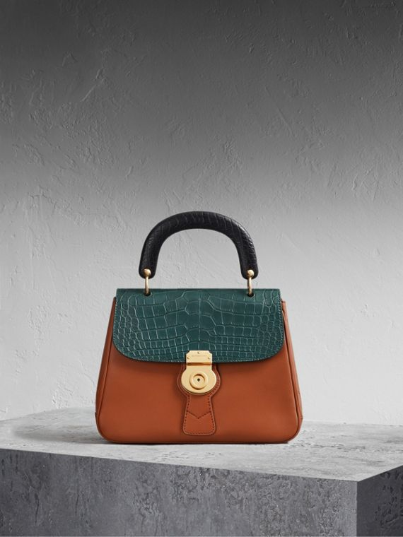 The Medium DK88 Top Handle Bag with Alligator Tan/dark Forest Green