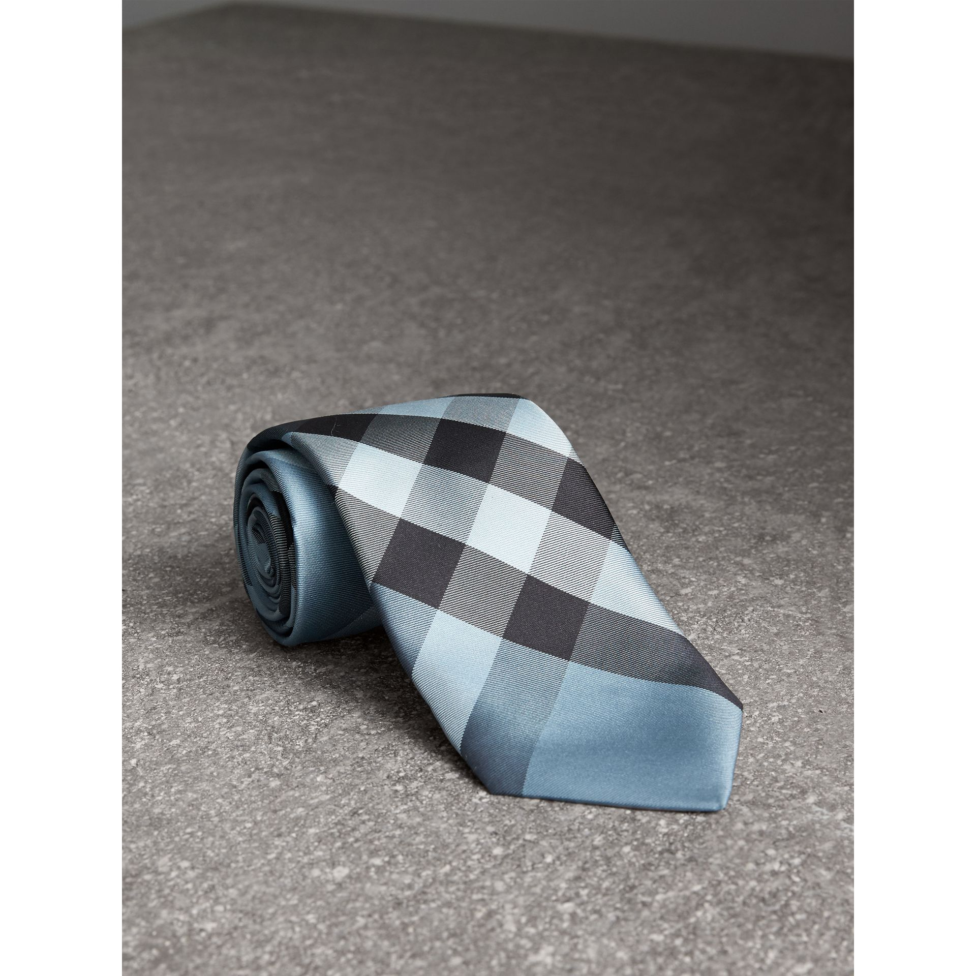 Modern Cut Check Silk Tie in Light Blue - Men | Burberry United Kingdom - gallery image 0