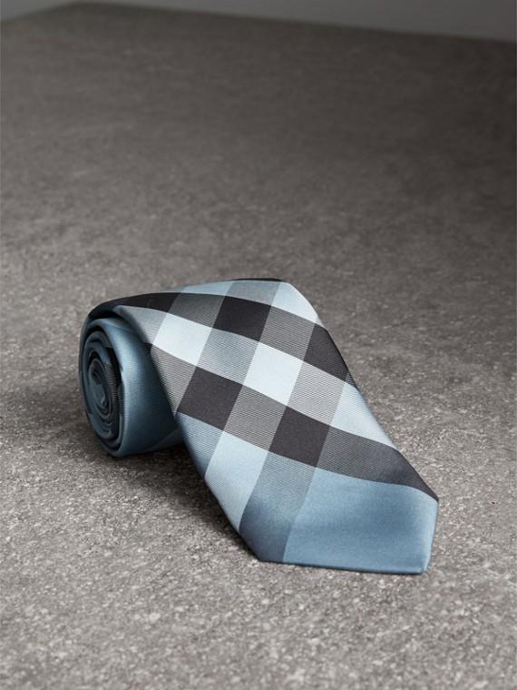 Gravata de seda com estampa xadrez e corte moderno (Azul Claro)