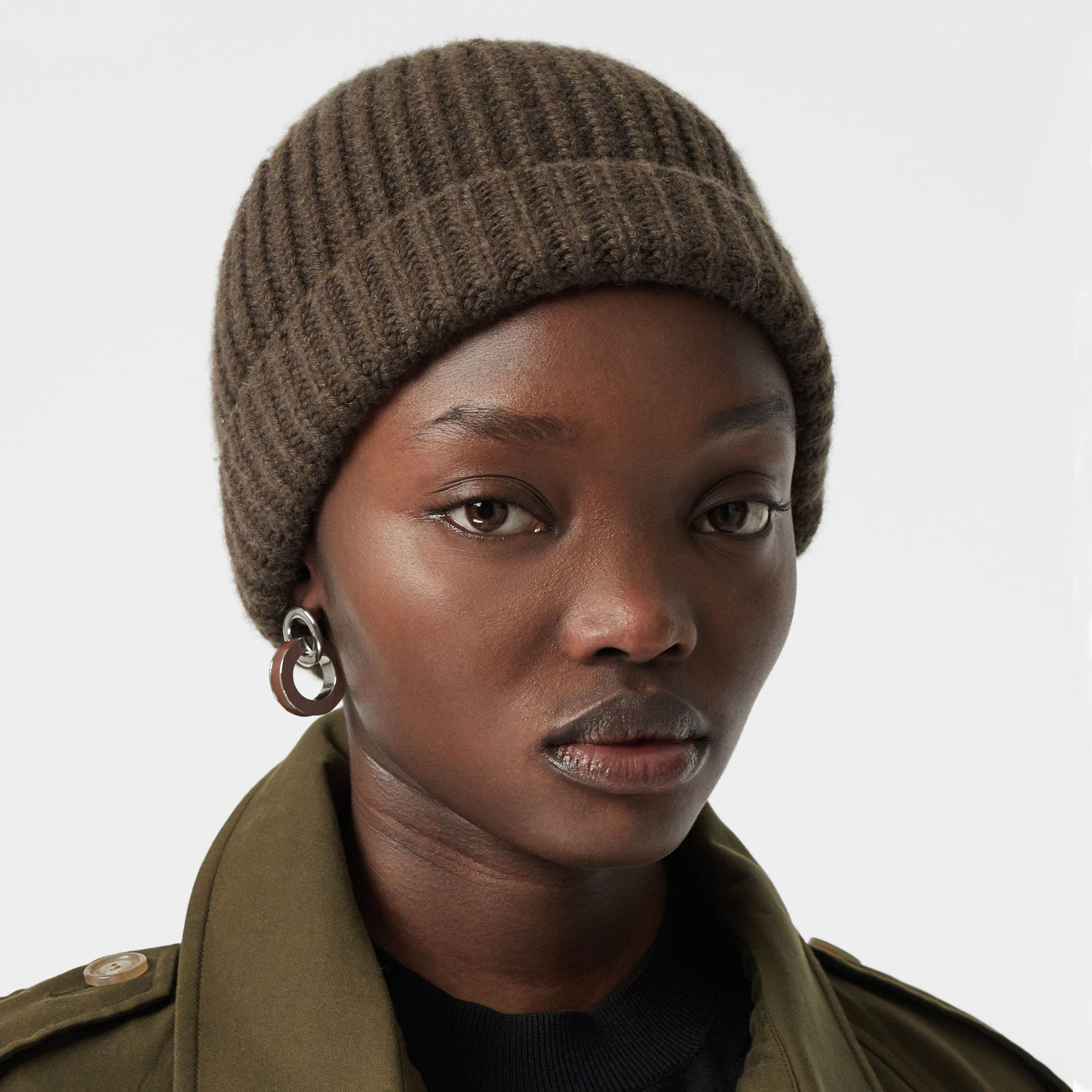 Rib Knit Cashmere Beanie in Olive Green | Burberry - gallery image 2