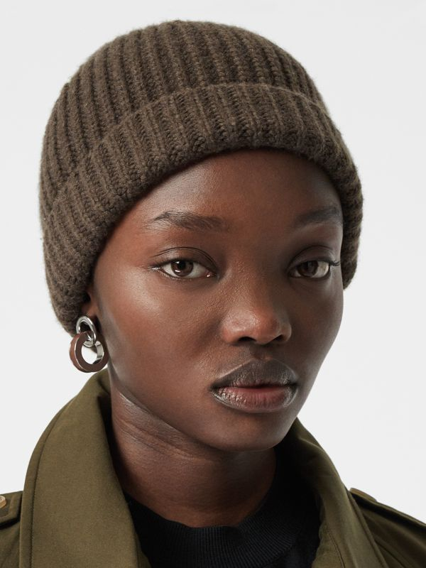 Rib Knit Cashmere Beanie in Olive Green | Burberry - cell image 2