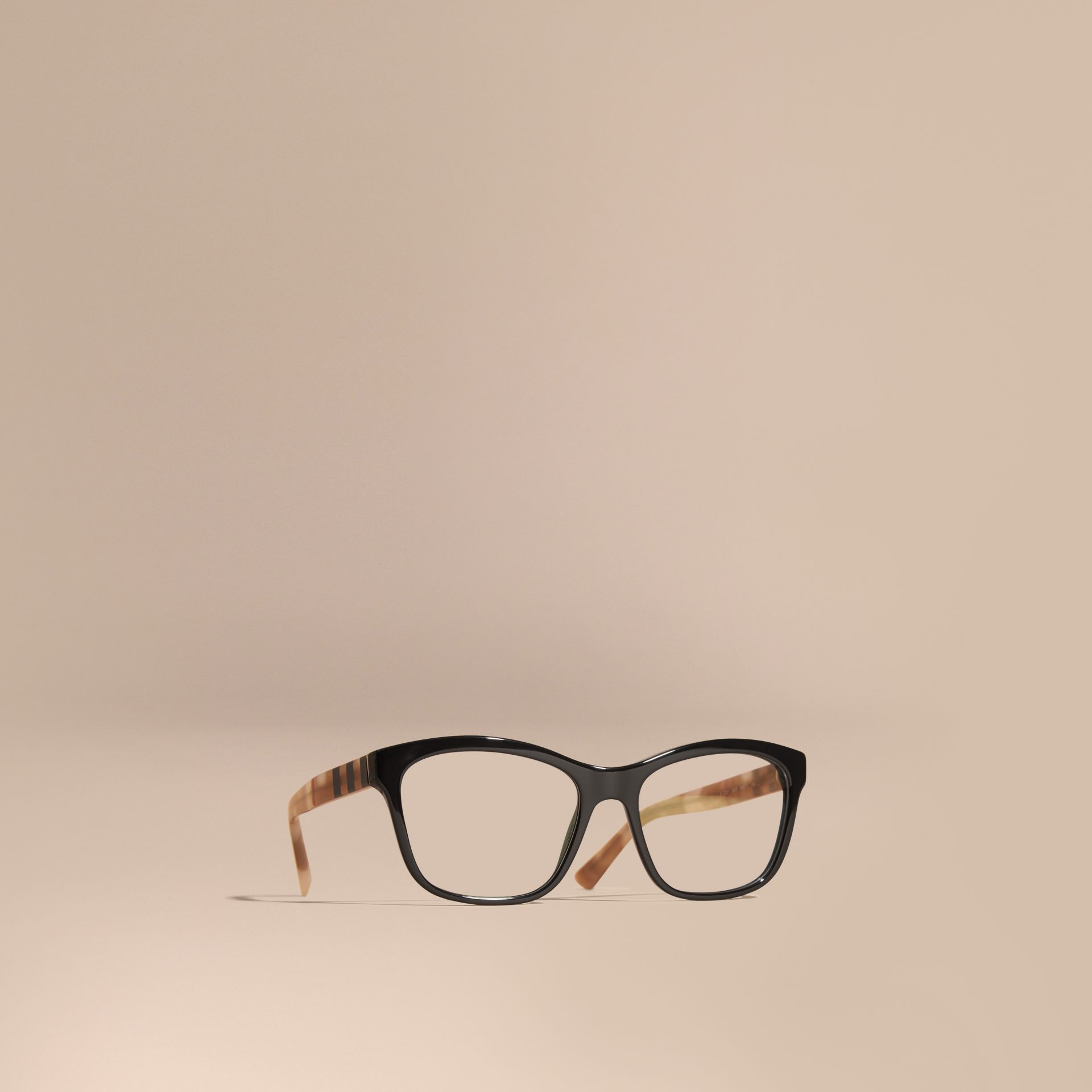 Check Detail Square Optical Frames in Black - gallery image 1