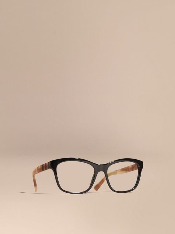 Check Detail Square Optical Frames Black