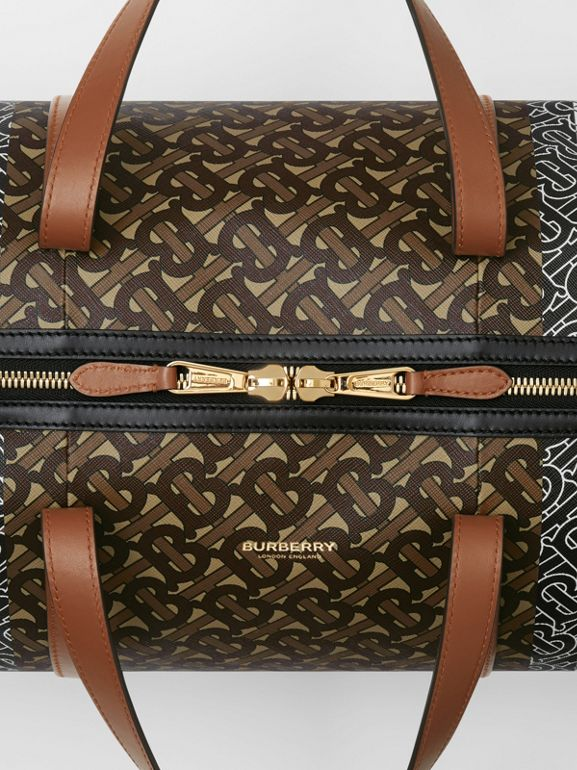 Medium Monogram Stripe E-canvas Barrel Bag in Bridle Brown | Burberry - cell image 1