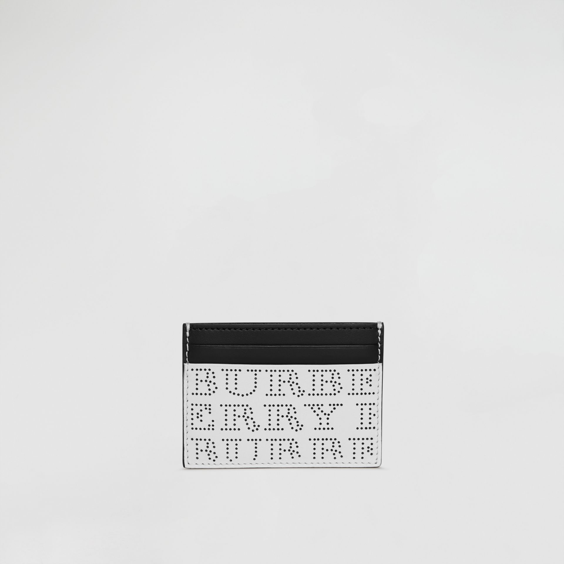 Perforated Logo Leather Card Case in Optic White - Men | Burberry - gallery image 2