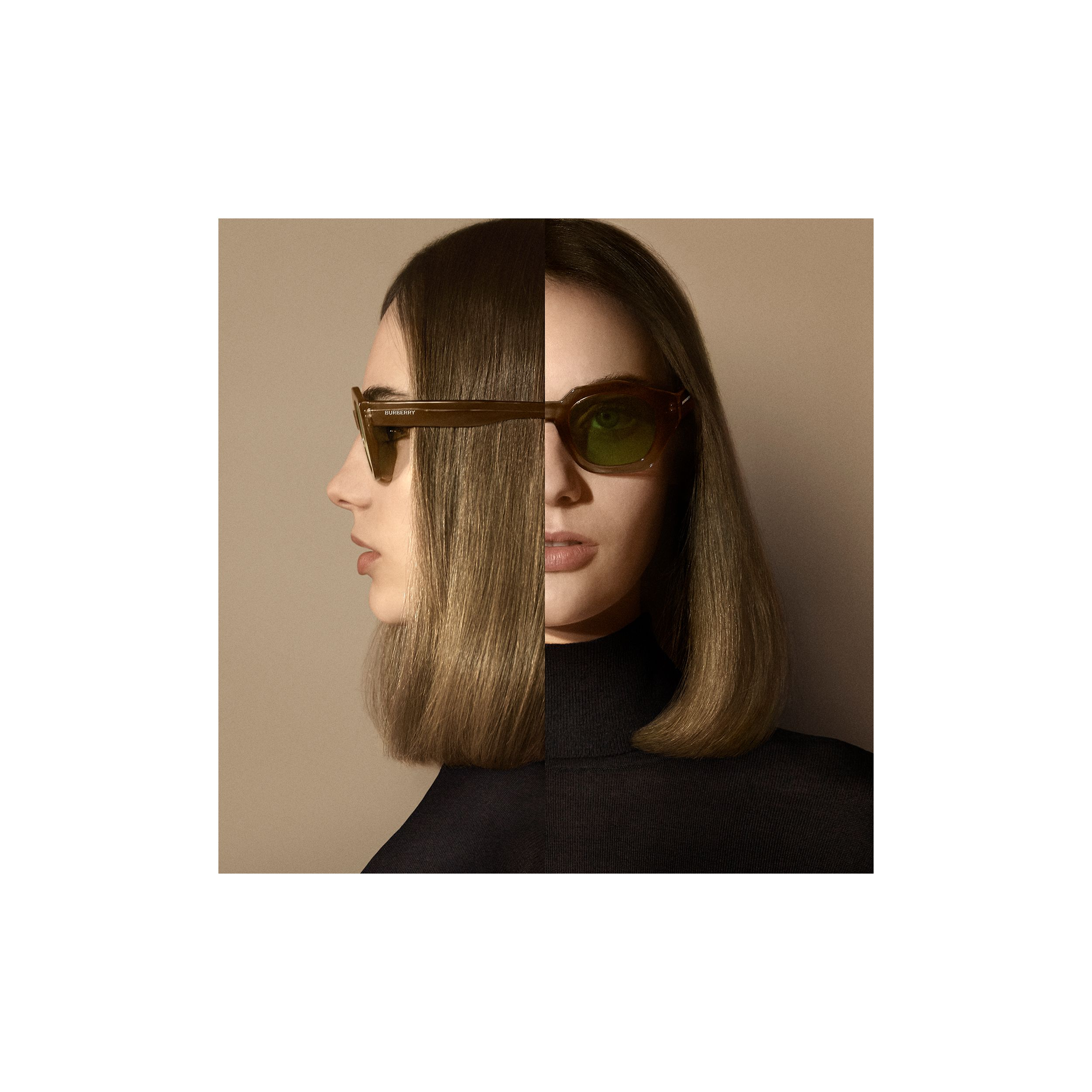 Geometric Frame Sunglasses in Brown - Women | Burberry United Kingdom - 2