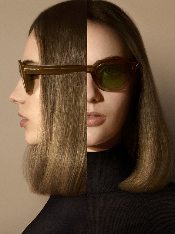 Geometric Frame Sunglasses in Brown - Women | Burberry United Kingdom - cell image 1