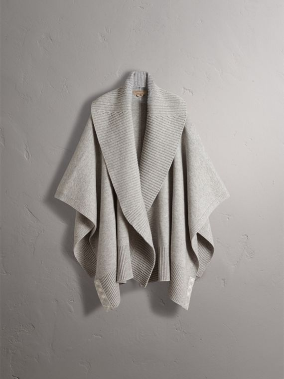 Shawl Collar Wool Cashmere Poncho in Mid Grey Melange - Women | Burberry Australia - cell image 3
